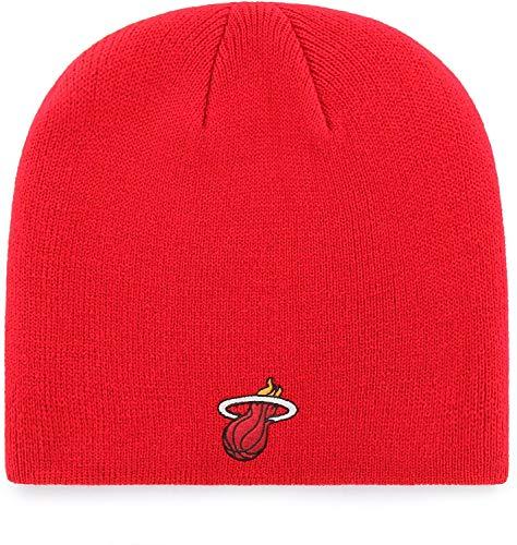 '47 Miami Heat Red Skull Cap - NBA Cuffless Winter Knit Beanie Toque Hat