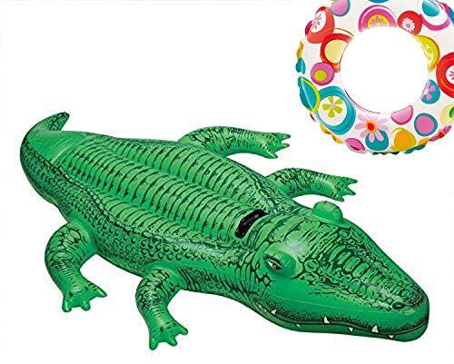 Alligator Aufblastier aufblasbare Reittier Tier Krokodil Schwimmtier Badeinsel Luftmatratze Schwimmliege Wasserspielzeug Spielzeug für Pool Planschbecken Kinderpool See Meer Fluß ideal für Kinder