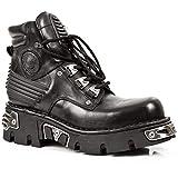 [Smart Range Leather] ニューロックニューロックM.924-S1メタリックメンズブラックゴシックブーツレザーブーツ (Mens UK 10/ EU 44)