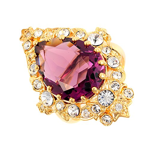 Elvis Colelction 18K Gold Plated Purple Ornate Ladies Ring with Crystals by Lowell Hayes - Size R