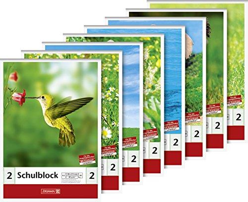 Brunnen 104188201 Schulblock (A5, 50 Blatt, liniert, Lineatur 2, Klasse 2)