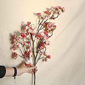 Artificial Cherry Peach Blossom Fake Silk Flower Home Wedding Party Floral Decor Simulation Flower Table Decoration Accessories Party for Wedding Decoration (Red)