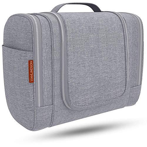Kulturbeutel XXL [7 Liter Stauraum] Kulturtasche für Männer & Frauen [Design 2020], Große Kosmetiktasche für Mann und Frau, Waschtasche, Waschbeutel zum Aufhängen für Damen & Herren (Grau)