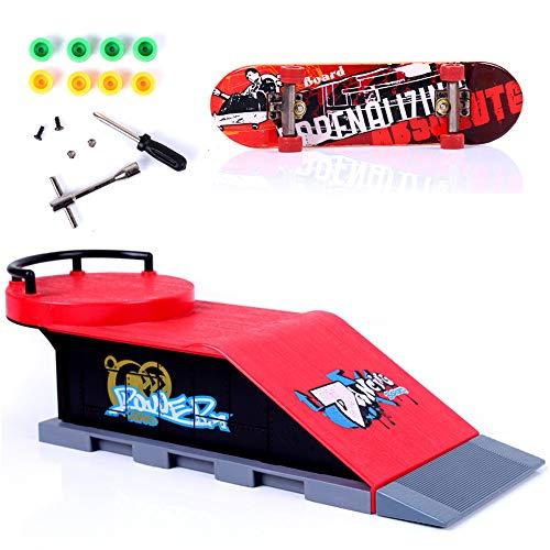 Sipobuy DIY Assembly Mini Finger Skateboard Deck Truck Skate Park Board con Conjuntos de Accesorios de rampa (Escena D)