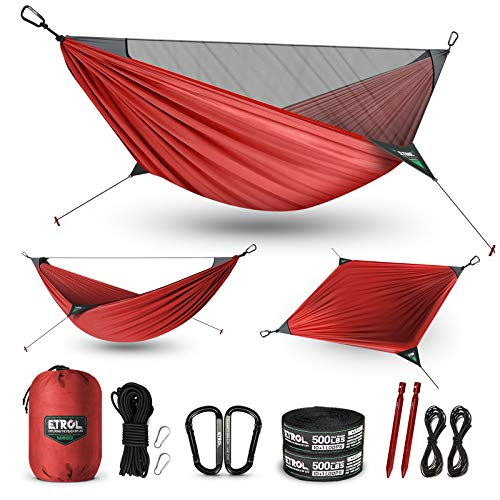 ETROL Camping Hammock 2 in 1 Ridge Hammock with Mosquito Net - Lightweight Portable 2 Person Hammocks - Tree Straps, Hold Up to 485lbs Movable for Camping, Outdoor, Travel, Hiking, Backpacking