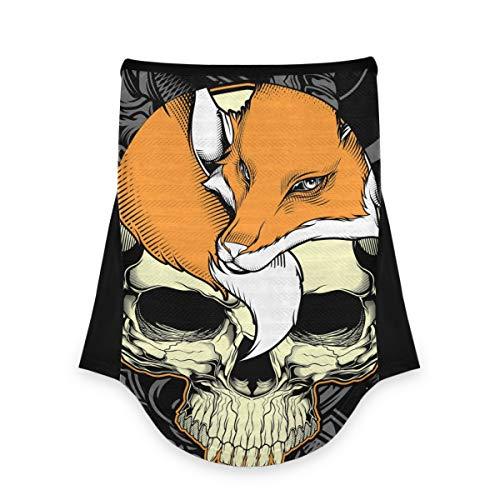 Pañuelo facial para cuello, bandana, pasamontañas, calavera esqueleto zorro orejeras para polvo, viento, motocicleta, patrón animal 2010186