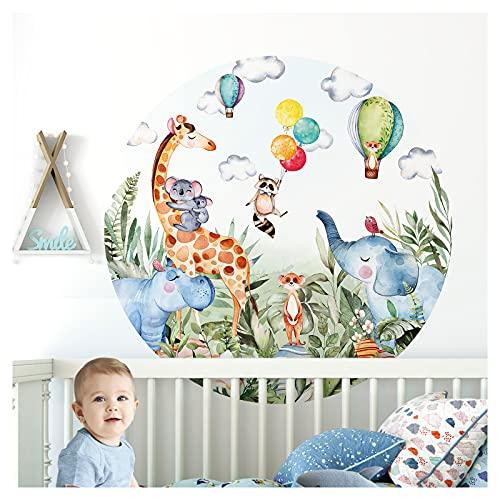 Little Deco Wandtattoo Kinderzimmer Wandsticker Waldtiere Ballon Wanddeko Spielzimmer Sticker Kind Wandaufkleber Baby Mädchen Junge Giraffe Elefant rund DL563