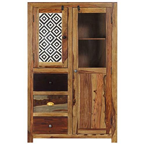 Tidyard Sheesham-Massivholz Küchenschrank Sideboard Schrank Schubladenkommode Highboard Anrichte Mit 3 Schubladen und 2 Türen,Abmessungen:95 x 48 x 150 cm (B x T x H)
