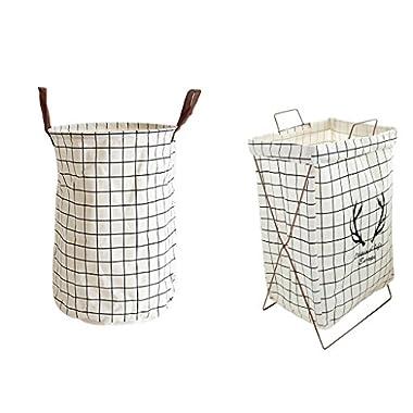 Baoblaze Super Large Linen X-frame Storage Basket Laundry Hamper Kid Toys Bucket 14x22'', Foldable - Set 3