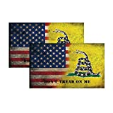 2-Pack Dont Tread On Me Bumper Sticker Decal, American Flag Decal-United States Marines Army Navy Air Force, Decals for Laptop Car Bumper Window Decorations,Vivid Color and UV Fade Resistant 3x5'