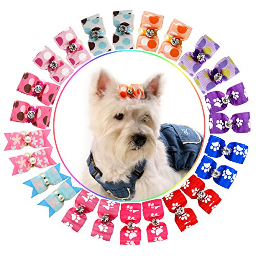 Hollihi 24PCS/12 paia adorabile nastro grosgrain fiocchi per capelli con elastici – Cane cucciolo Topknot Cat Kitty Doggy Grooming Hair Accessories Bo