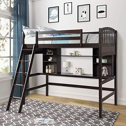 Read About Wood Loft Bed with Desk Twin Size Study Loft Bed Frame with Angled Ladder, Environmental ...