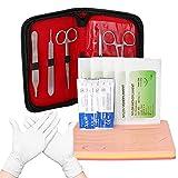 Walmeck Kit de entrenamiento de ejercicios de sutura quirúrgica Kit de módulo de entrenamiento de sutura de piel quirúrgica de silicona Herramientas quirúrgicas de modelo para estudiantes de