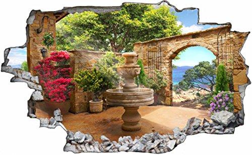 DesFoli Brunnen Mediterran 3D Look Wandtattoo 70 x 115 cm Wanddurchbruch Wandbild Sticker Aufkleber C513