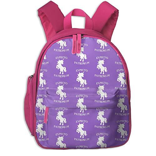 Mochila Infantil niña,My Patronus Is A Unicorn_3559 - unicorgi, para escuelas de niños Ropa de Oxford (Rosa)