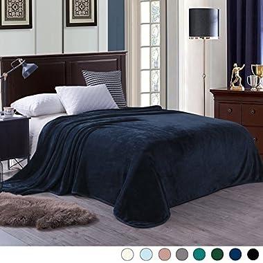 Exclusivo Mezcla Luxury Queen Size Flannel Velvet Plush Solid Bed Blanket (90  x 90 , Dark Navy) - Soft, Lightweight, Warm and Cozy