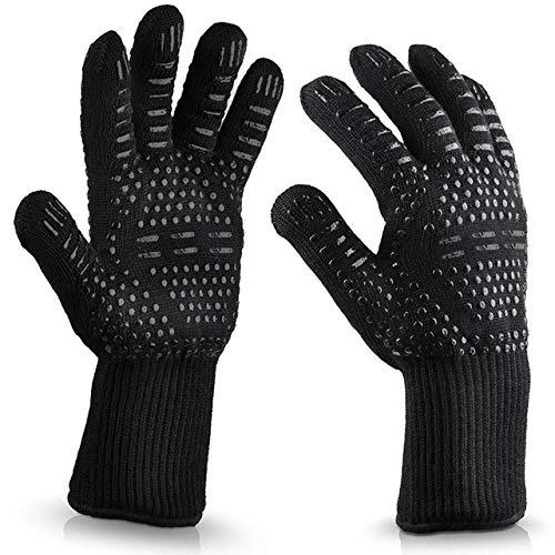 CRSM 2 Pack Hittebestendige Dikke Siliconen Koken Barbecue Handschoenen Barbecue Grill Handschoenen Wassen Gerechten Handschoenen Zwart