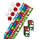 American Greetings Christmas Wrapping Paper Kit with Gridlines, Bows and Gift Tags, Santa, Snowmen, and Stripes (41-Count, 4 pack, 120 sq. ft)