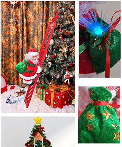 Electric Climbing Santa on Ladder, Novelty Christmas Decoration with Music and LED Light for Christmas Tree, Plush Climbing Ladder Santa Doll Toy Xmas Tree Hanging Ornament for Home Door Wall Decor