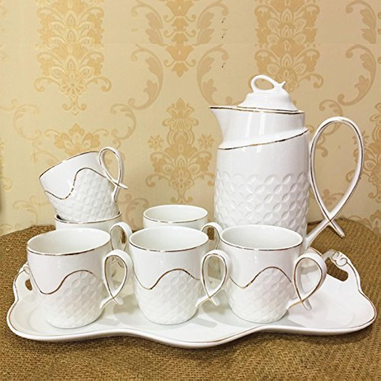 LUN LIPorcelaine européenne, Ensemble de Tasses en céramique, Ensemble de Tasses en céramique Ensemble de thé créative résistant à la Chaleur européenne Bouteille d'eau de Salon, a