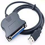 REY Cable USB Macho a Paralelo Hembra 25 Pines BD25 CL25 Centronics PC Impresora