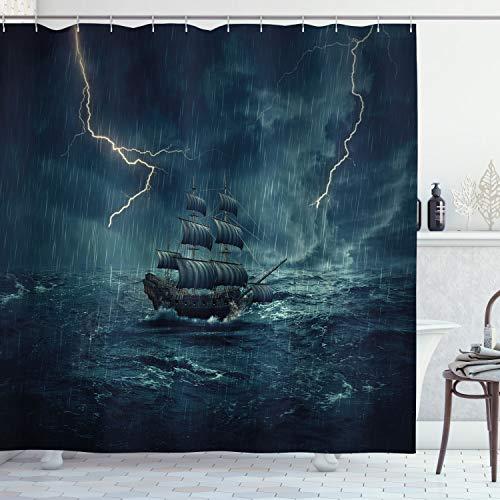 ABAKUHAUS Duschvorhang, Stürmisches Regnerisches Wetter Bewegt Piraten Schiffs Segeln Ölfarbe Wellen Donnern Blitz Druck, Wasser & Blickdicht aus Stoff mit 12 Ringen Schimmel Resistent, 175 X 200 cm