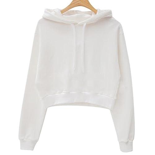 Only Faith Women Long Sleeve Sweatshirt Hoodie Pullover Crop Top Jacket 0fd148ebf