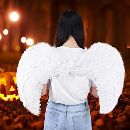 Hochzeitsfeier Angel Wings, Federflügel Fotografie Requisiten, Für Party Stage Theme Partys Bühnenperformance Kinder/Erwachsene Halloween(White)