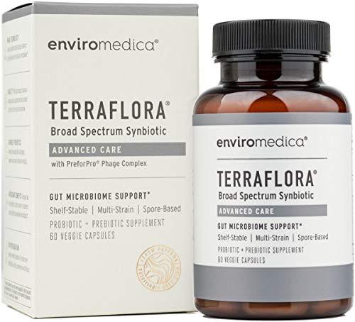 Enviromedica Terraflora Advanced Care SBO Probiotic + Prebiotic Supplement - a Soil Based Shelf Stable Bacillus Spore Synbiotic with Patented PreforPro Phage Complex (60ct)
