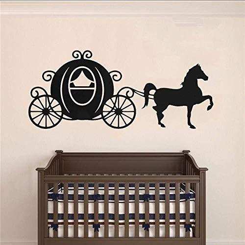 Muursticker paardenkoets Sillhouette muursticker prinses kamerdecoratie koets paarden vinyl wandtattoo meisjes kamer muurkunst decor 134X57cm