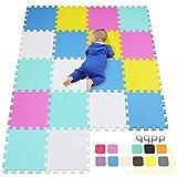 qqpp Alfombra Puzzle para Niños Bebe Infantil - Suelo de Goma EVA Suave. 18 Piezas (30*30*1cm), Blanco,Rosa,Amarillo,Azul,Verde. QQC-ACEGHb18N
