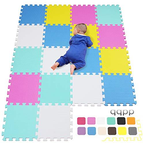 qqpp Alfombra Puzzle para Niños Bebe Infantil   Suelo de Goma EVA Suave. 18 Piezas (30*30*1cm), Blanco,Rosa,Amarillo,Azul,Verde. QQC ACEGHb18N