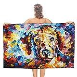 Pintura al óleo Perro de doble cara pila Toallas de baño 80x130...