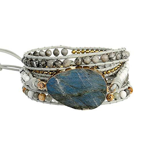 Plumiss Bohemia 5 Wraps Labradorite Bracelet Handmade Multilayer Beaded Jewellery For Women And Girls