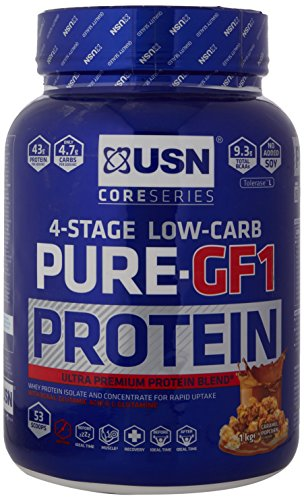USN Pure Protein GF1 Low Carb Protein Shake, Caramel Popcorn, 1 kg