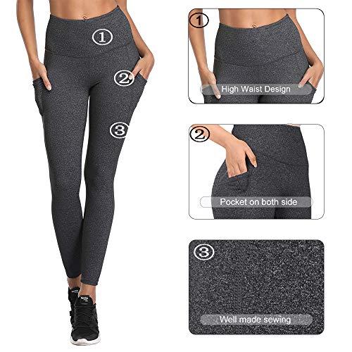 SIMIYA High Waist Leggings, SIMIYA Womens Running Tights With Pockets Power Stretch Yoga Pants Slim Fit Sports Trousers , Grey Sports Leggings-grey, XL