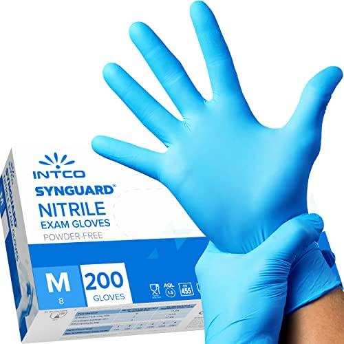 200 guanti in Nitrile senza polvere, senza lattice, ipoallergenici, certificati CE conforme alla norma EN455 guanti per alimenti guanti medici monouso (200 Guanti M)