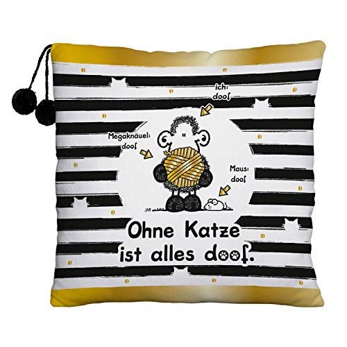 Sheepworld 45994 Plüschkissen Ohne Katze ist alles doof, mit Pompoms, 25 cm x 25 cm Kissen, Polyester, Schwarz, Weiß, Goldfarben