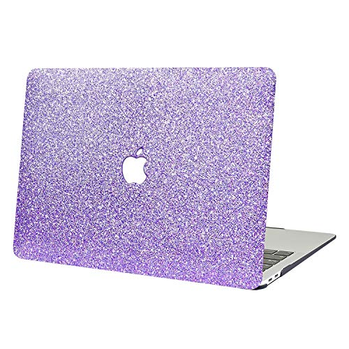 AUSMIX MacBook Air 13 Case,2 In 1 Bling Crystal Smooth Plastic Hard Shell Protective Case Cover of Sparkly Glitter Series for Apple Laptop MacBook Air 13' Model A1369/A1466 -Shiny purple