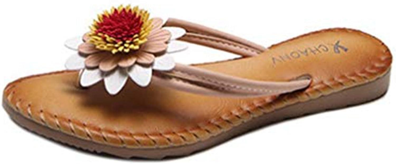 Bohemia Fringe Flower Flat Flip Flops Sandals for Women Fashion Slip on Comfy Dress Beach Thongs Slipper