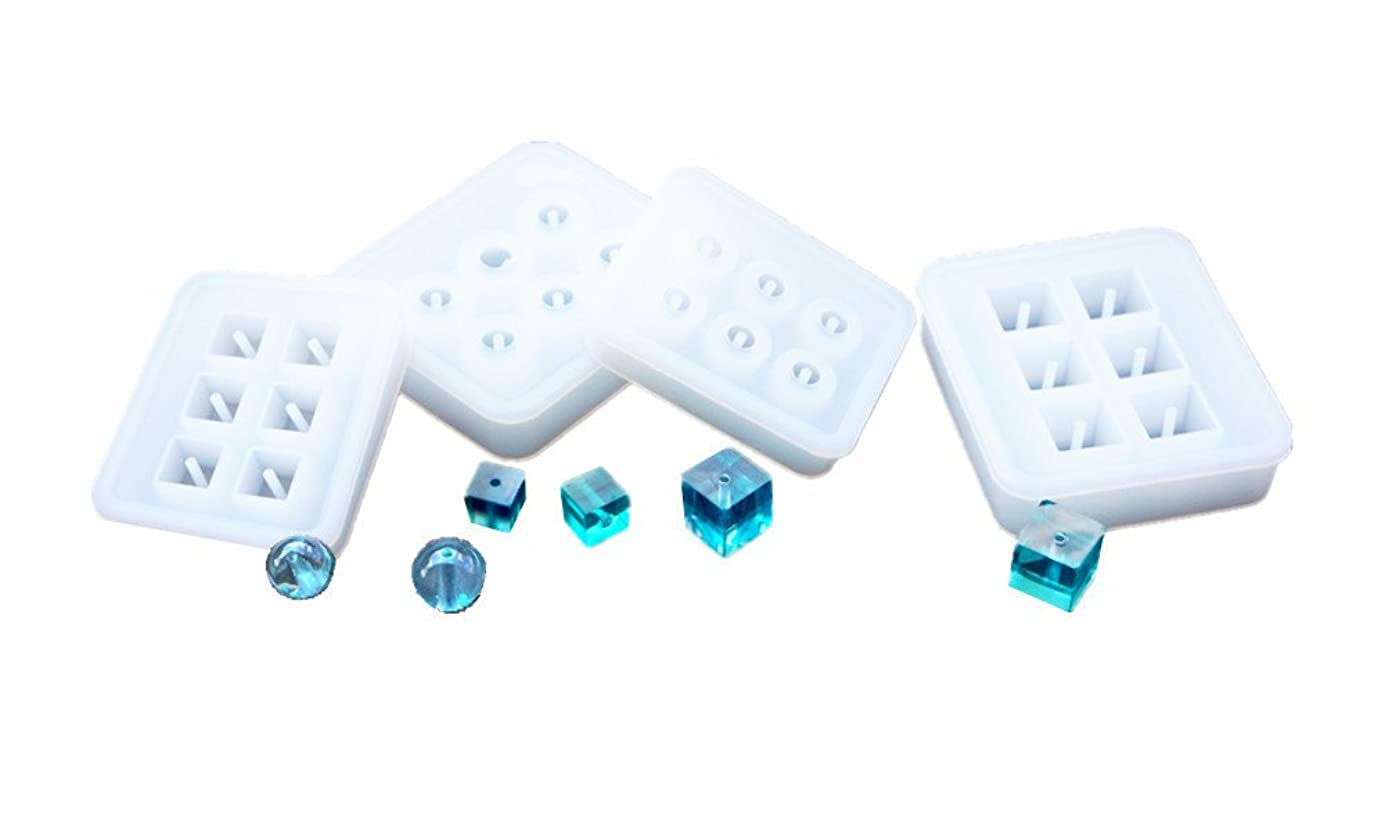 DOYOLLA 4 Pack Silicone Jewelry Beads Molds Sphere Square Shaped Jewelry Pendant Casting Mould DIY Craft Tool wyljak9568