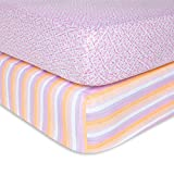 Fitted Crib Sheets, 2-Pack, Girls & Unisex 100% Organic Cotton Crib Sheet for Standard Crib and Toddler Mattresses (Sunset Stripe 2-PK) mattress set May, 2021