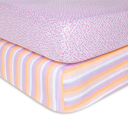 Burt's Bees Baby - Fitted Crib Sheets, 2-Pack, Girls & Unisex 100% Organic Cotton Crib Sheet for Standard Crib and Toddler Mattresses (Sunset Stripe)