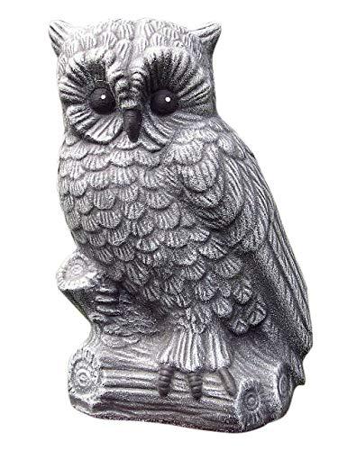 Tiefes Kunsthandwerk Steinfigur Eule groß - Schiefergrau Deko Figur Garten Frostsicher
