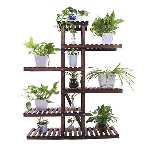 Ufine Carbonized Wood Plant Stand 6 Tier Vertical Shelf Flower Display Rack Holder Planter Organizer for Indoor Outdoor Garden Patio Balcony Living Room and Office