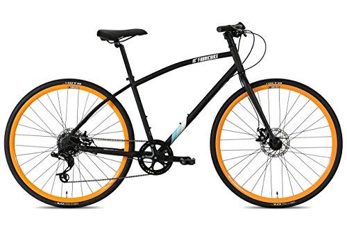 FabricBike Commuter Trekking Fahrrad Hybrid Touring Bike Straßen-/Stadtfahrrad, Sram 8 Gänge, Tektro Mechanische Scheibenbremsen (Matte Black & Orange, M-45cm)