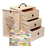Essential Oil Bottles Storage for 60 Bottles - Holds 5 10 15 20 30 ml Travel Box For Young Living & Doterra bottles - Essential Oil Box Natural Wood(Update Version)