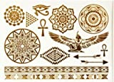 Tatuajes temporales metálicos con dibujos egipcios, tatuajes flash joyas de piel 330b