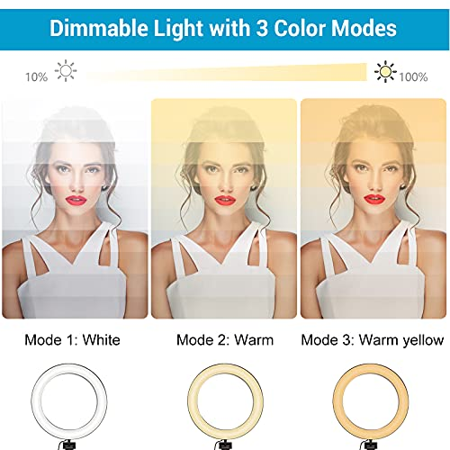 Selfie Ring Light with Tripod Stand and Phone Holder Circle LED Lights for Photo Photography Vlogging Video Make Up Live Steaming