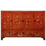 Fine Asianliving Aparador chino antiguo dongbei rojo pintado a mano W156xD40xH104cm Cómoda de cajones inspirado Ming Muebles chinos orientales madera pintada a mano asiática 156x104x40cm